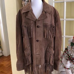 Vintage men's suede leather fringed jacket Large